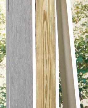 Wrap a wooden post with PVC to improve appearance.