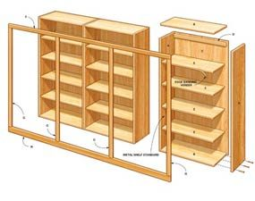 Figure A: Office organizer shelving dimensions and details