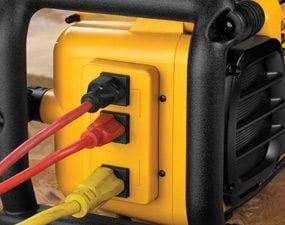 Three line voltage power outlets on side of DeWalt Worksite Charger/Radio