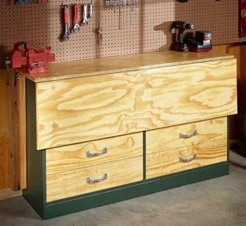 Garage workbench with the top folded down