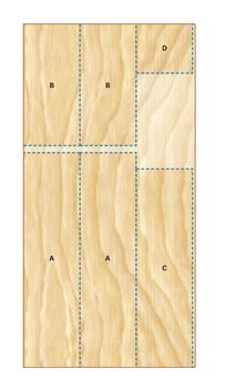 3/4-in. plywood cutting diagram for the garage workbench parts