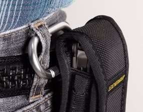Clip attaches a belt sheath to the pants loop
