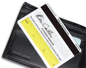 Ruler section taped to back of credit card