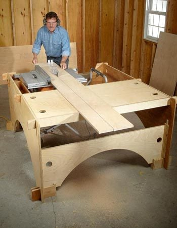 Cutting a long board on the DIY table saw table
