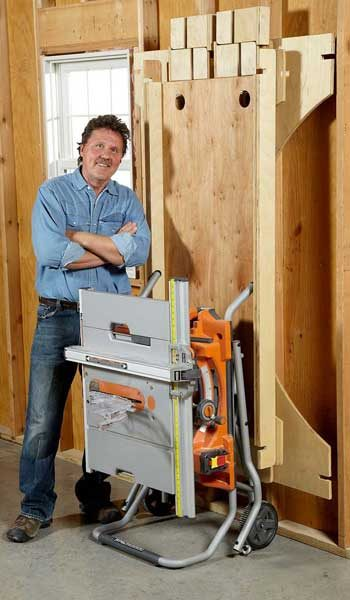 DIY table saw table dismantled and stored flat on garage wall
