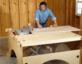 DIY table saw table extensions on the end and side