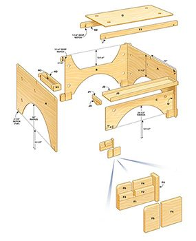 Technical drawing of the table saw table parts and dimensions.