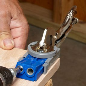 Drilling pocket hole with a pocket screw jig