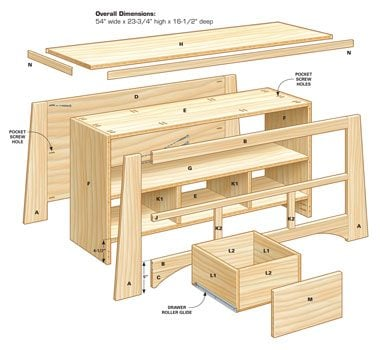 Technical drawing of DIY TV stand parts and assembly