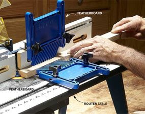 When you're making door and window trim with a router table, use featherboards to hold the wood tight to the fence and table.