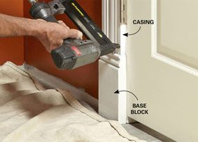 Door trim starts with a base block at the bottom