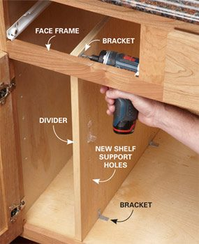 Fasten the divider with brackets