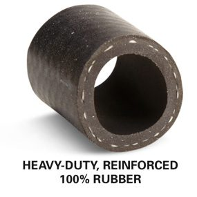 Cut-away section of a heavy-duty, reinforced 100 percent rubber hose
