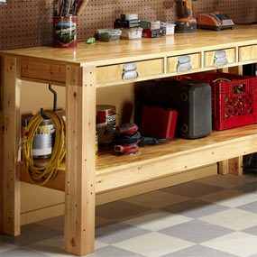 Completed workbench showing drawers and shelves