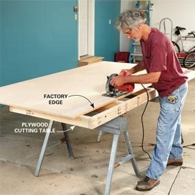 Cut the edge off a sheet of plywood with circular saw