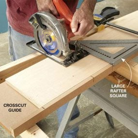Crosscut guide for wide hangers
