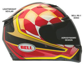 Side view of a motorcycle helmet.