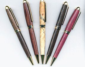 Pens with grips made of wood