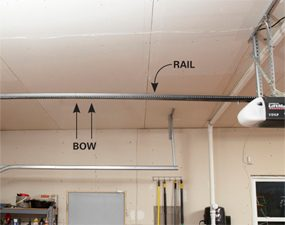 Overtravel causes bow in the rail