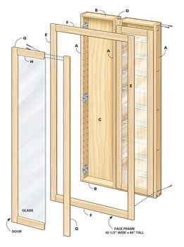 Components of built-in shelves assembly with glass doors shown in exploded view.
