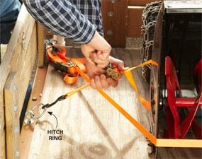 Use hitching rings to securely tie down loads in your utility trailer.