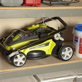 Some cordless lawn mowers will fold up and fit on a shelf.