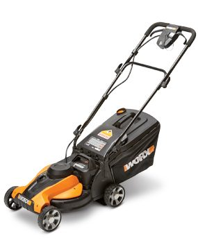 Photo of Worx WG782 14-in. cordless lawn mower.