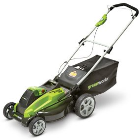 Photo of Greenworks cordless lawn mower.