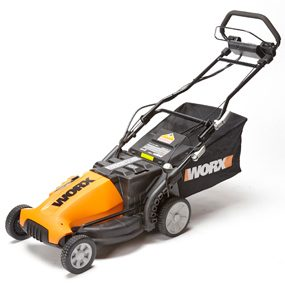 Photo of Worx WG789 19 in. self-propelled cordless lawn mower.