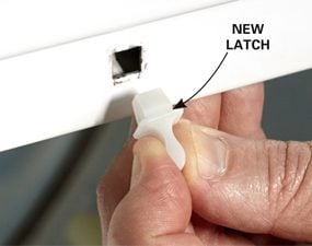Photo 1: Repair a clothes dryer door with a new latch.