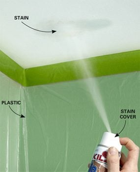 Spray on a little Upshot to remove ceiling stains