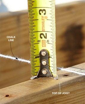 Measuring a joist sag