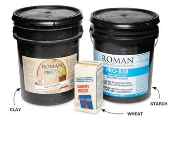 A pail of clay wallpaper paste, a pail of starch wallpaper paste and a box of wheat wallpaper paste.