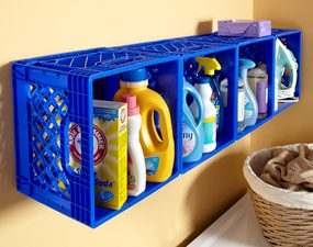 Mount plastic crates on the wall