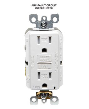 Arc-fault interrupters are required in most living areas.