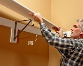 Simple, sturdy support for shelves and closet rods.