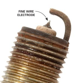 Close-up photo of fine-wire iridium spark plug.