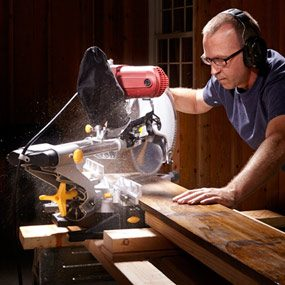 Cutting with a Chicago Electric 69684 miter saw.