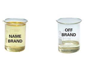 Beakers of actual lubricant from a conatiner of name-brand lubricant and a container of off-brand lubricant.