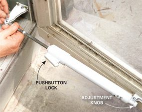 Securing and adjusting a screen door closer when repairing a screen door.