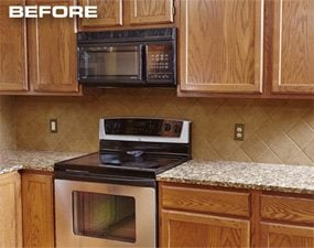 Cabinet refacing is the solution for these plain-looking cabinets.