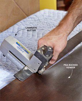 Cut the strips of veneer.