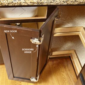 You may need special hinges for corner doors when refacing cabinets.