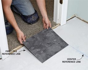 The key to a good luxury vinyl tile installation is to position the first tile perfectly.