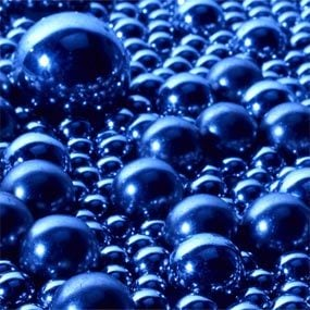 Ball bearings simulating conventional oil molecules.