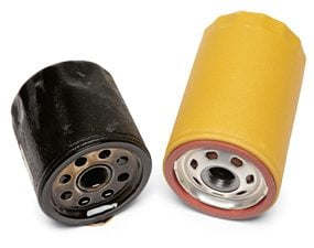 Two differently sized oil filters.