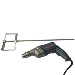 Power drill and mixing attachment to be used during garage floor resurfacing.