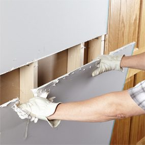Remove drywall in big pieces if you can.
