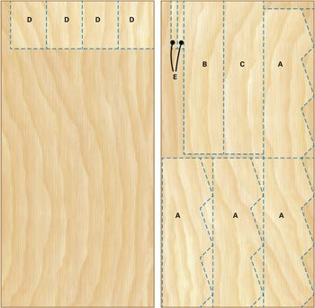 Cutting diagram for 4 x 8 sheets of plywood.