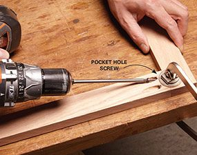 The quickest way to assemble face frame cabinets is with pocket screws.